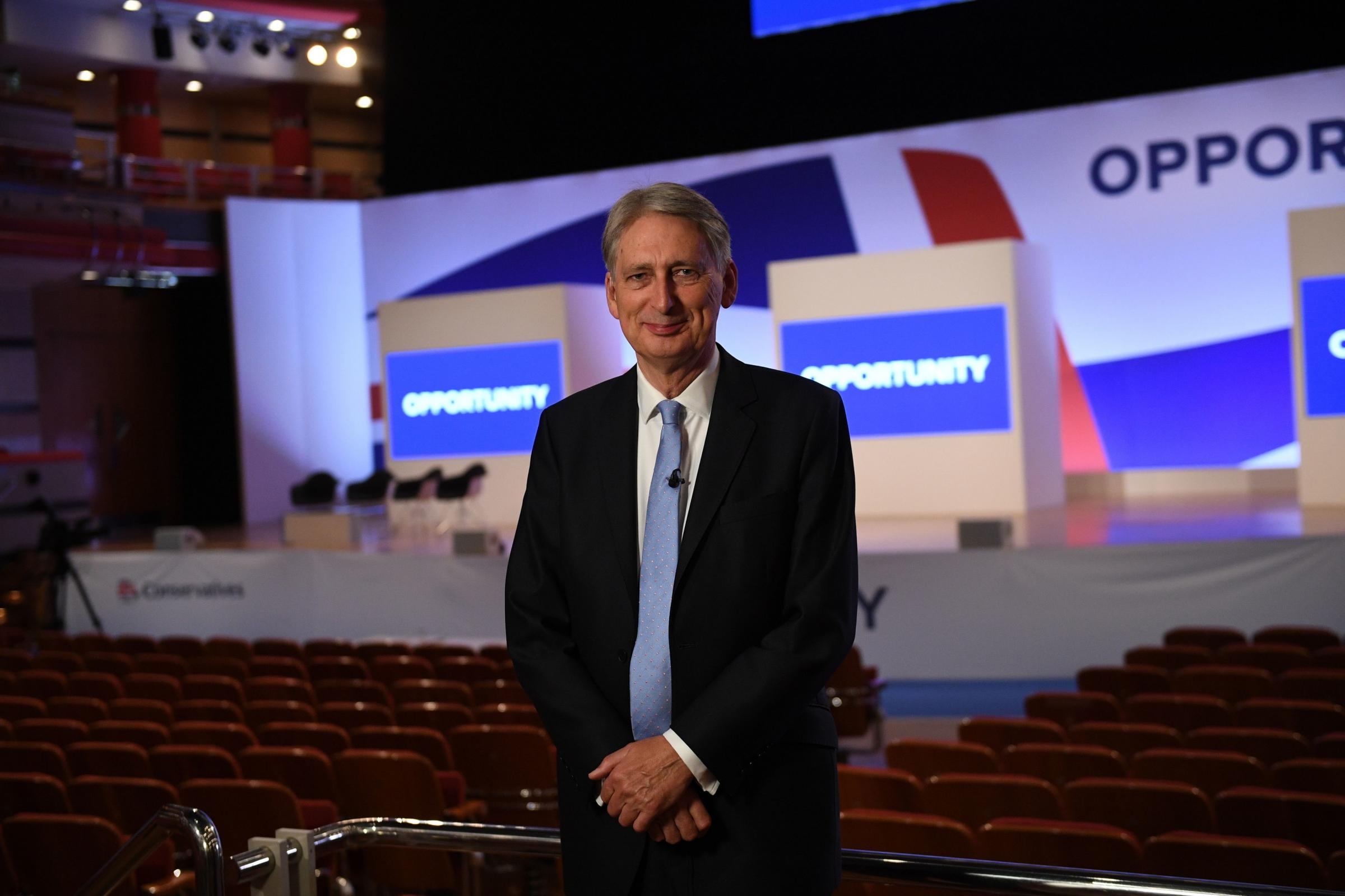 Chancellor of the Exchequer Philip Hammond ahead of his speech this afternoon at the Conservative Party annual conference at the International Convention Centre Birmingham. PRESS ASSOCIATION